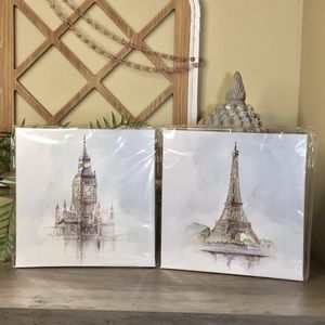 Set Of 2 New Pictures Big Ben And Eiffel Tower